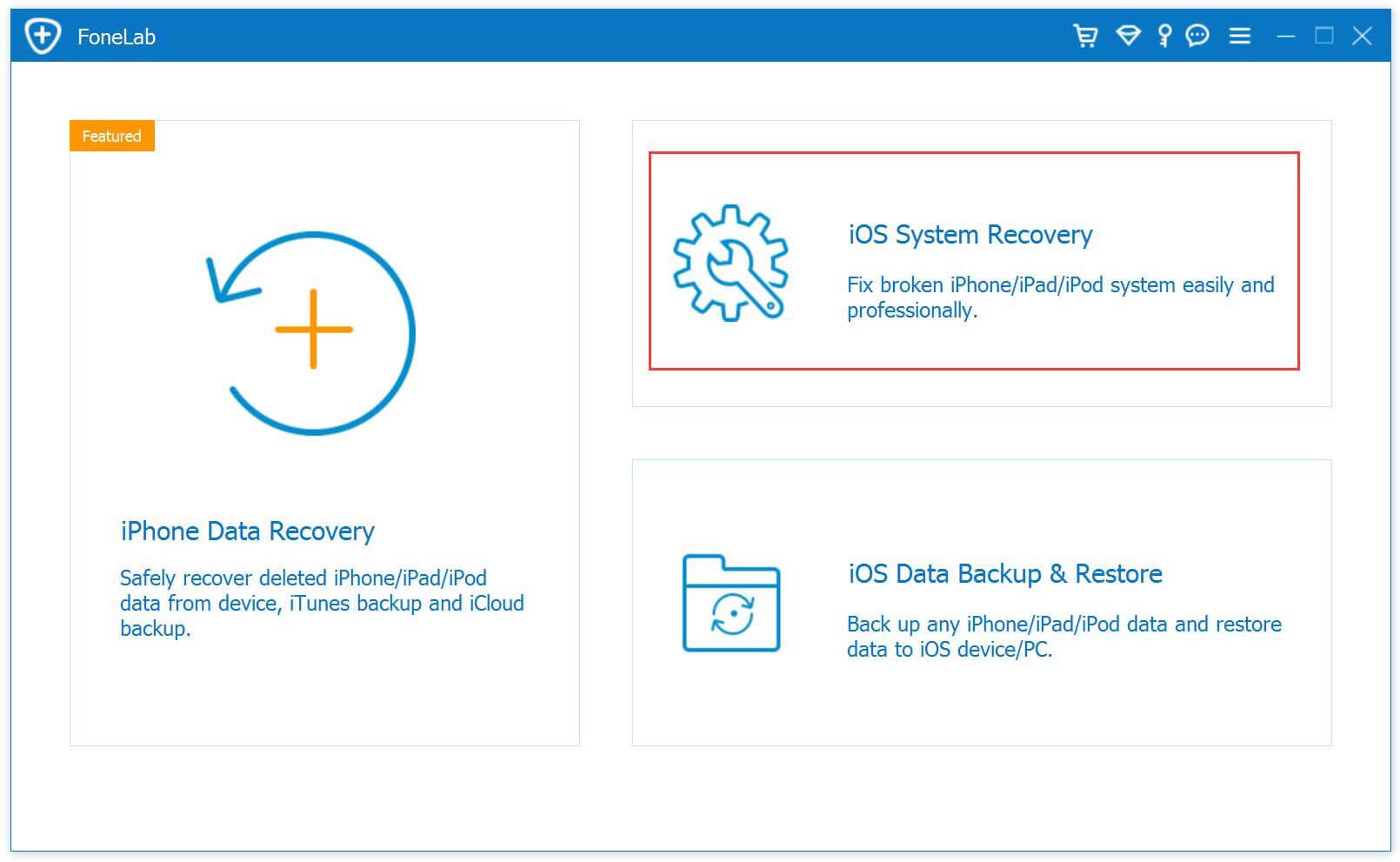 Главная страница восстановления системы ios