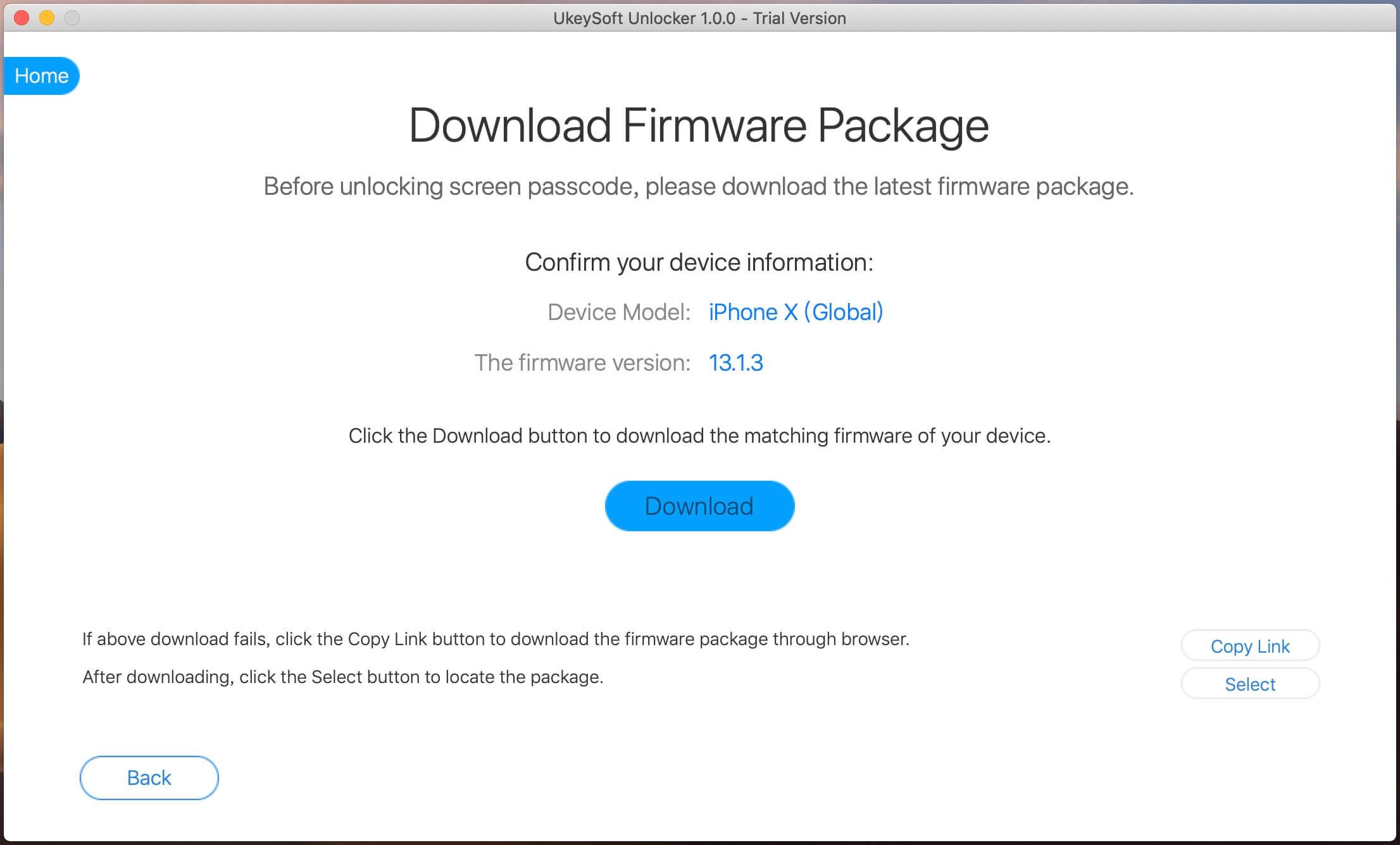 скачать пакет прошивки для исправления отключенного iPhone