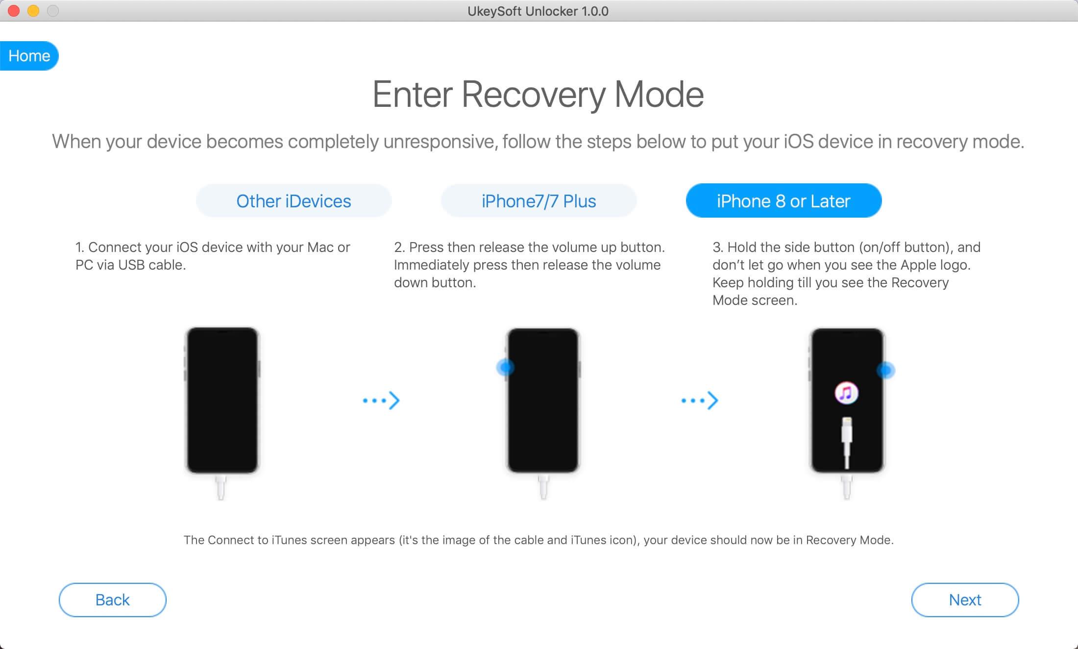 войти в режим восстановления, чтобы разблокировать отключенный iPhone